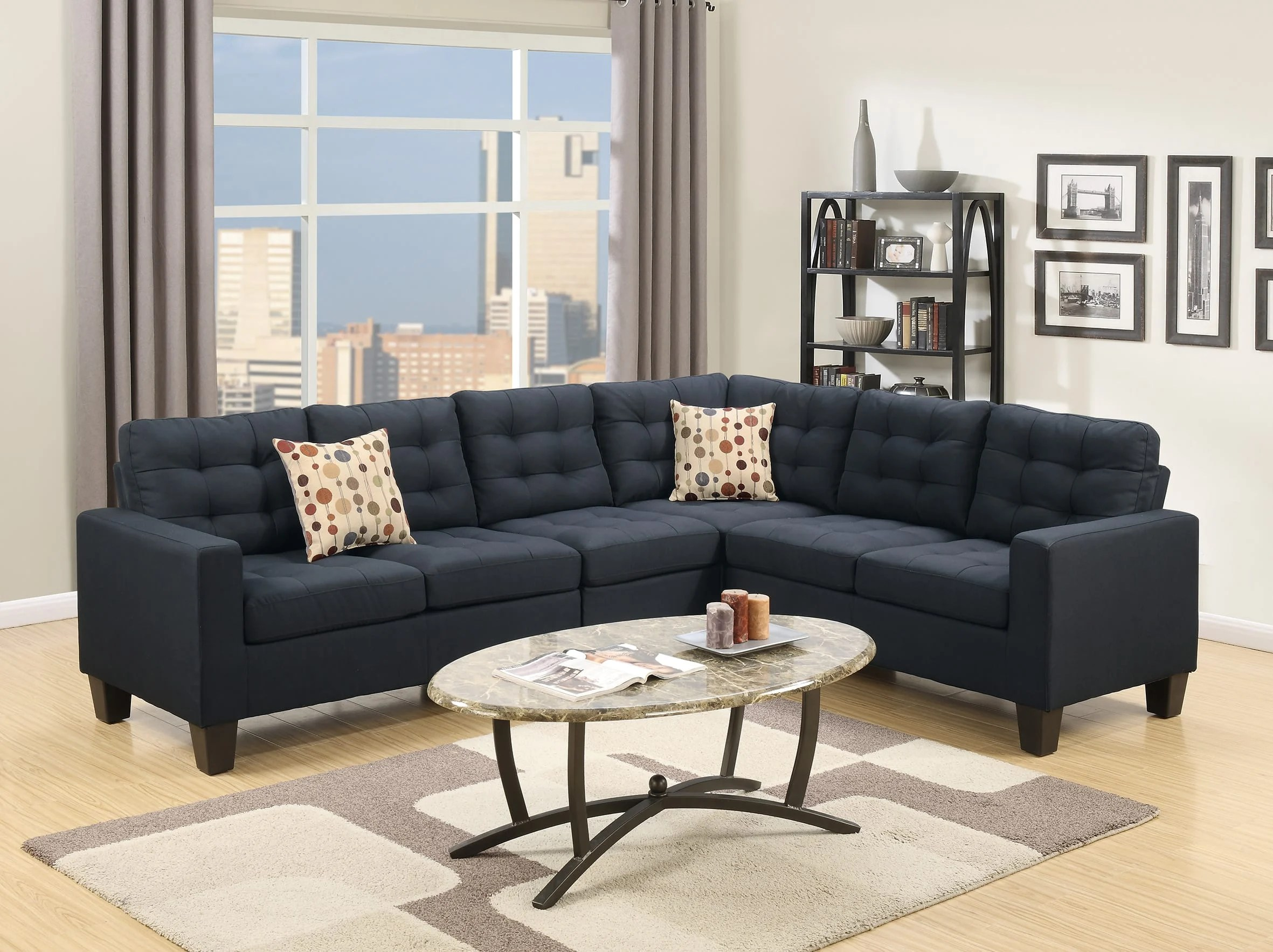 f6937 black sectional sofa by poundex