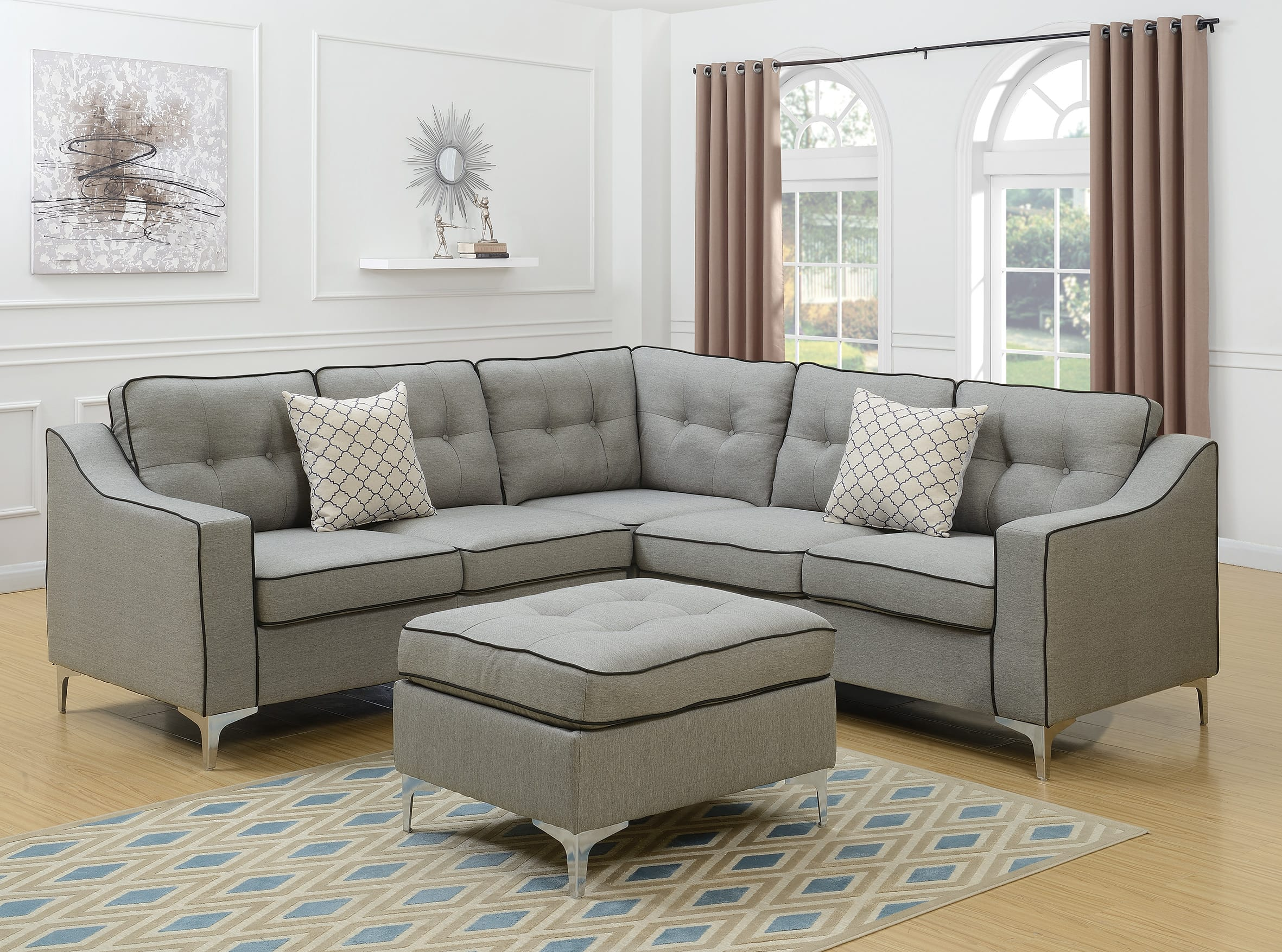 f6998 light gray 4 pcs sectional sofa set by poundex