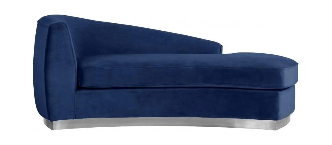 julian navy blue chrome velvet chaise lounge by meridian furniture