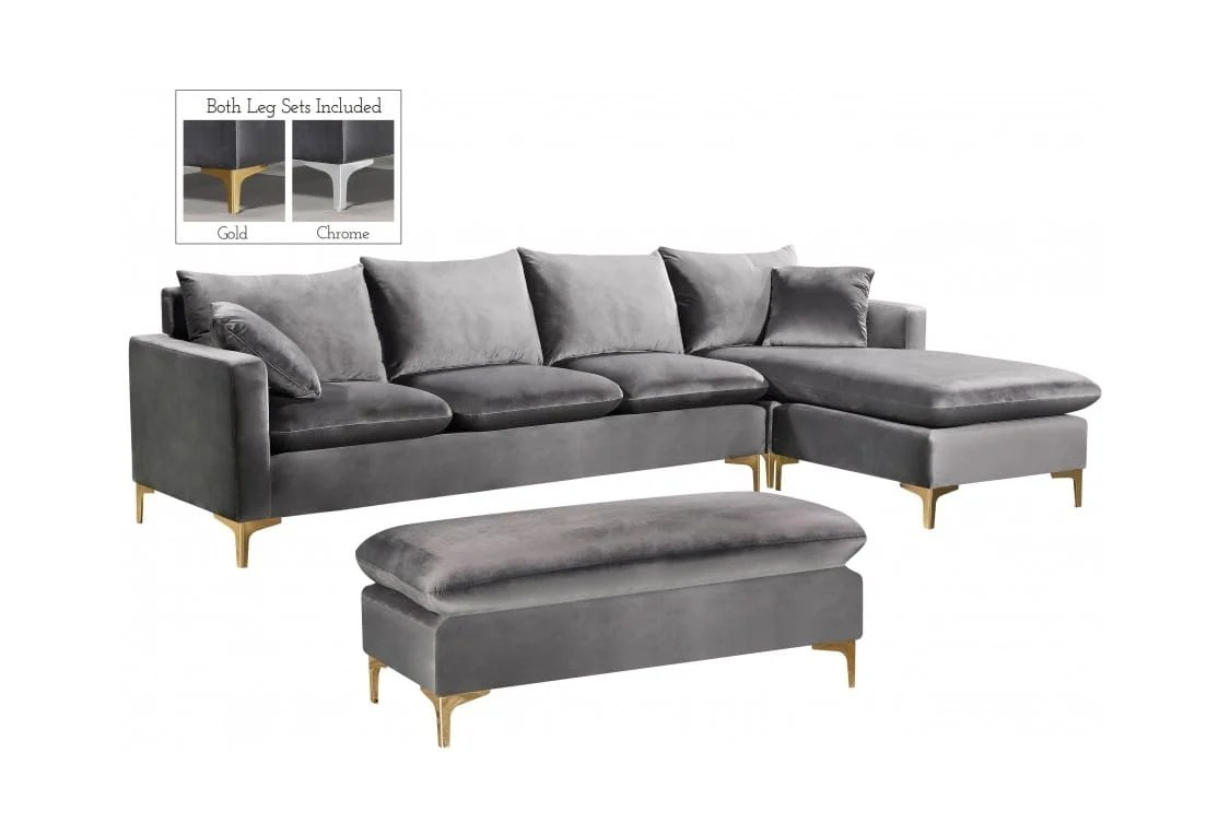 naomi grey velvet two piece sectional sofa by meridian furniture