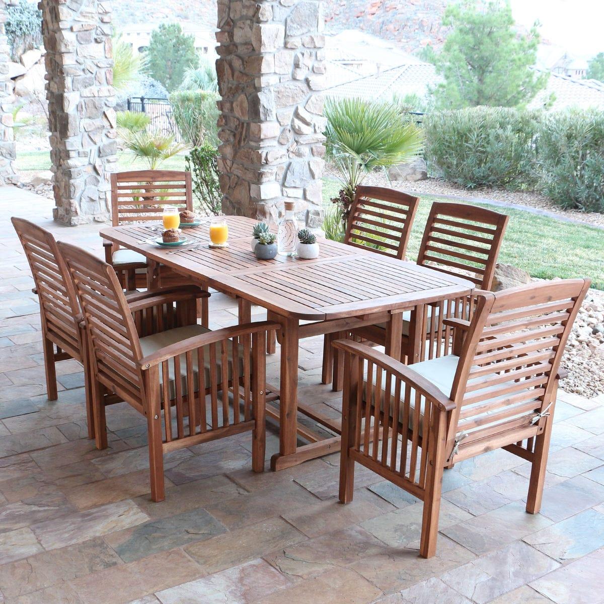 midland 7 piece acacia patio dining set w cushions brown by walker edison
