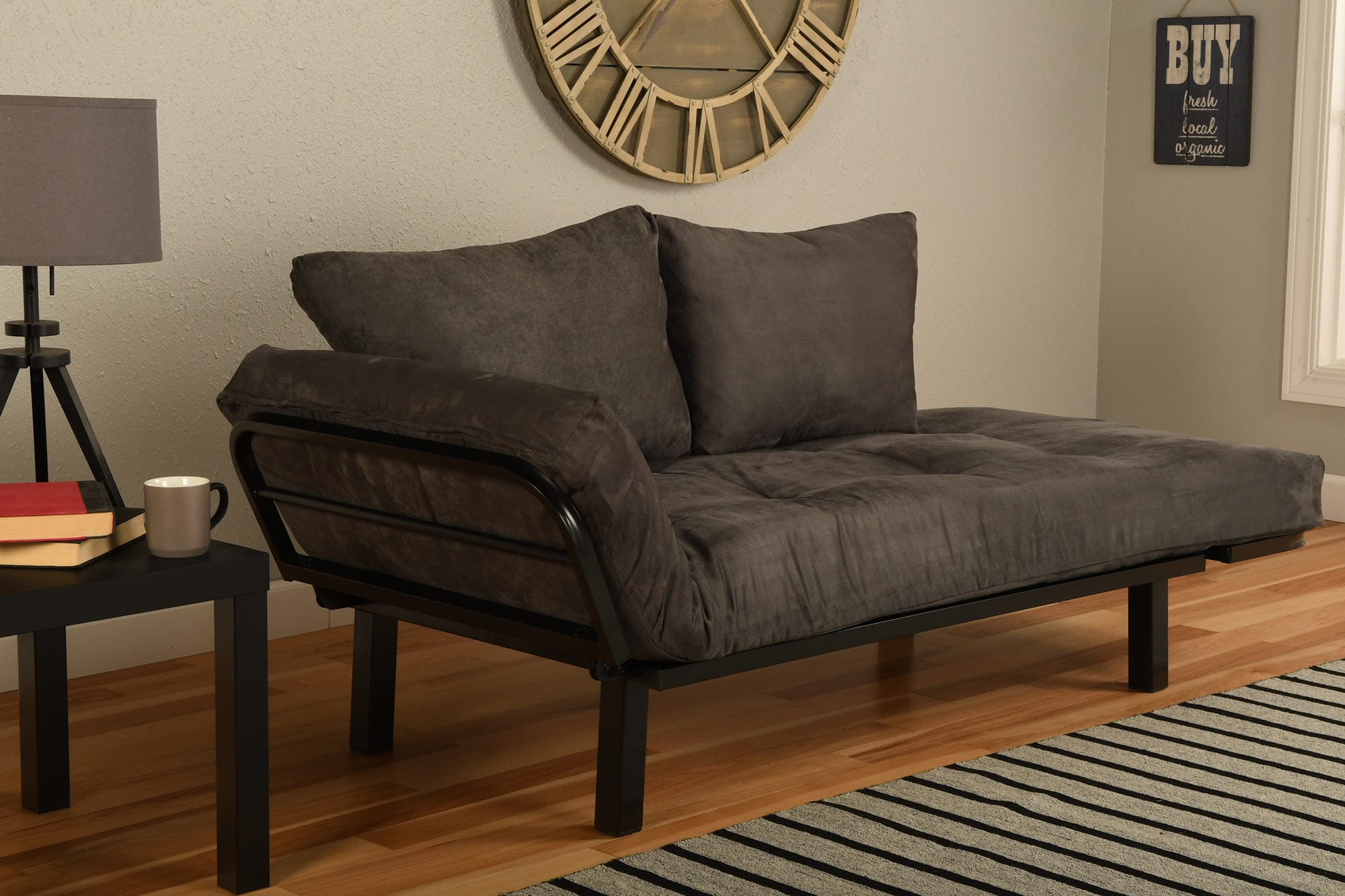 Spacely Futon Daybed Lounger With Mattress Suede Gray By
