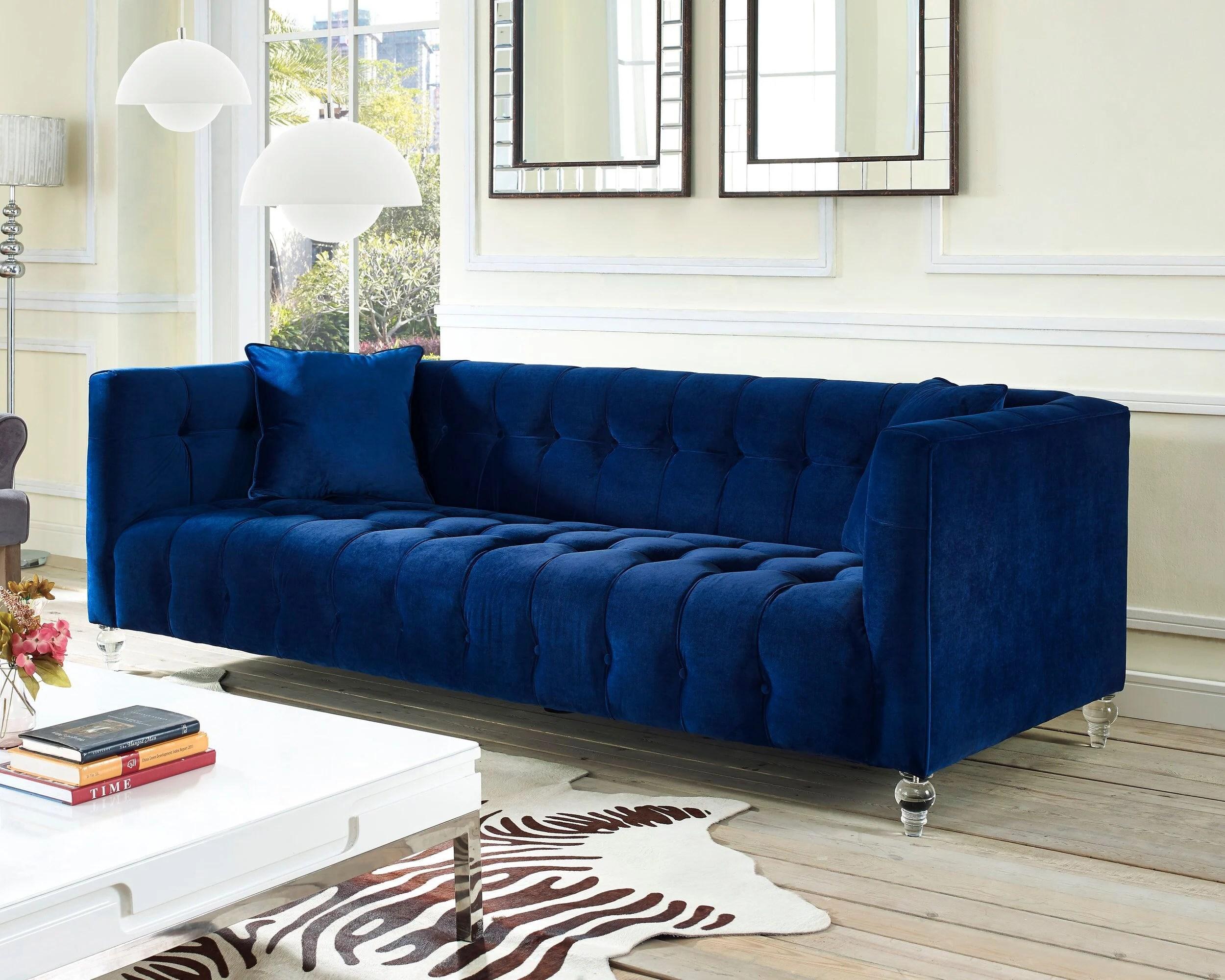 bea navy blue velvet sofa by tov furniture