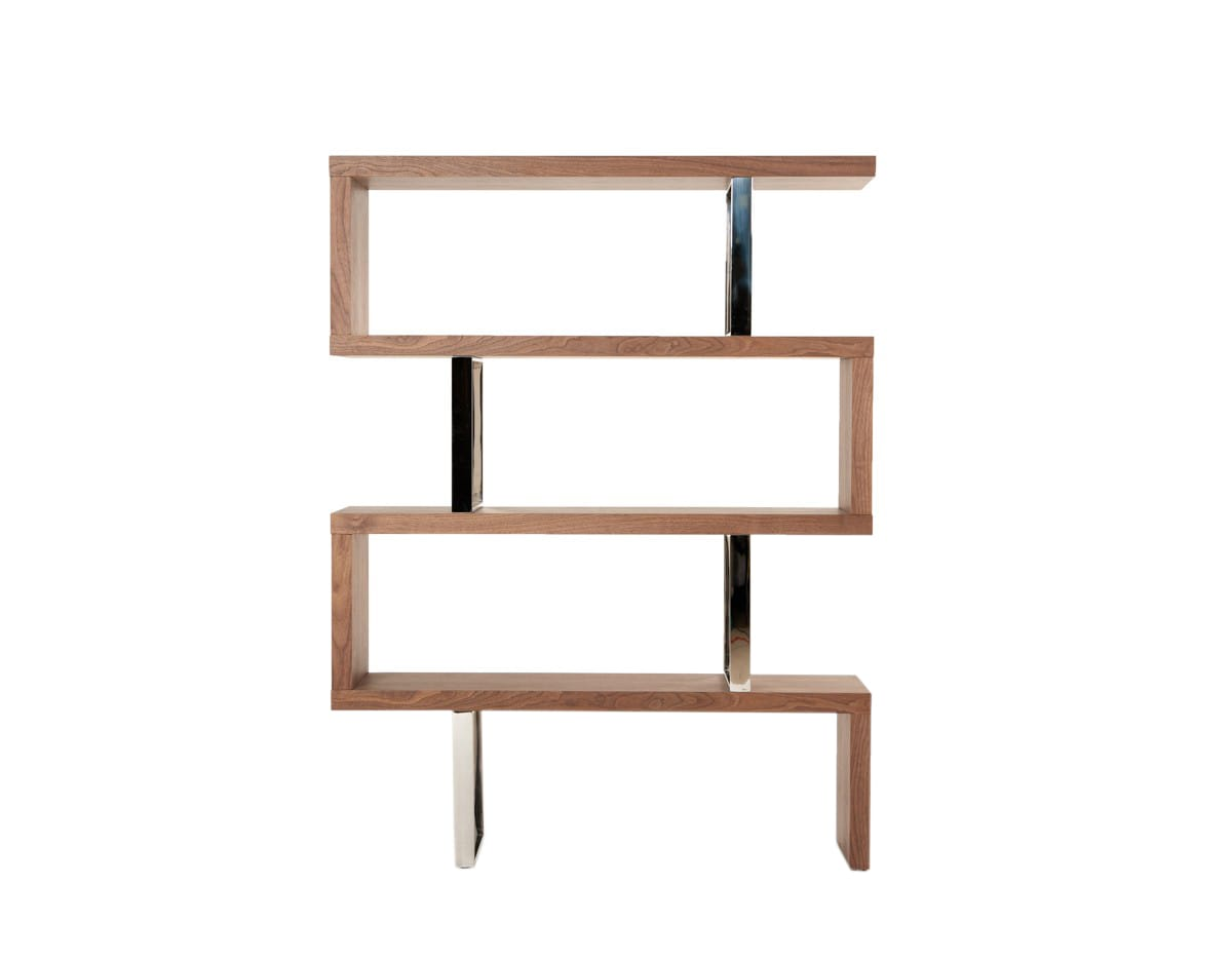 Modrest Maze Modern Walnut Bookcase By Vig Furniture