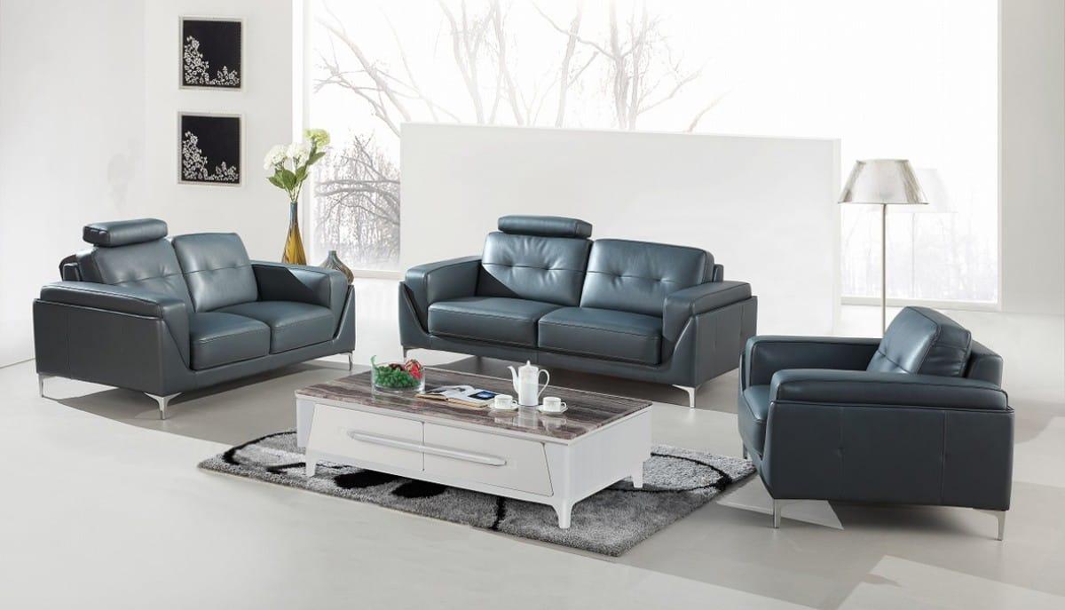 divani casa markham modern grey bonded leather sofa set by vig furniture