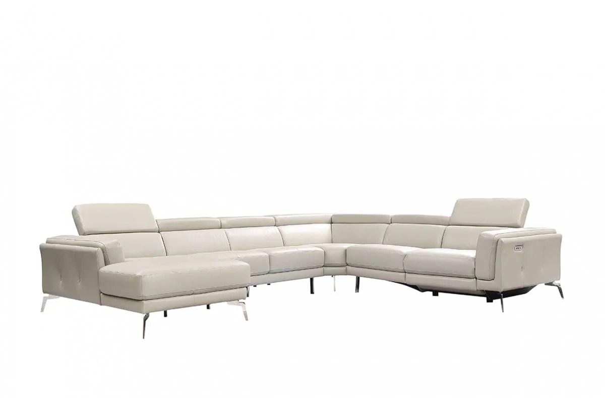 Divani Casa Gilsum Modern Light Grey Leather Sectional Sofa W Recliner By Vig Furniture