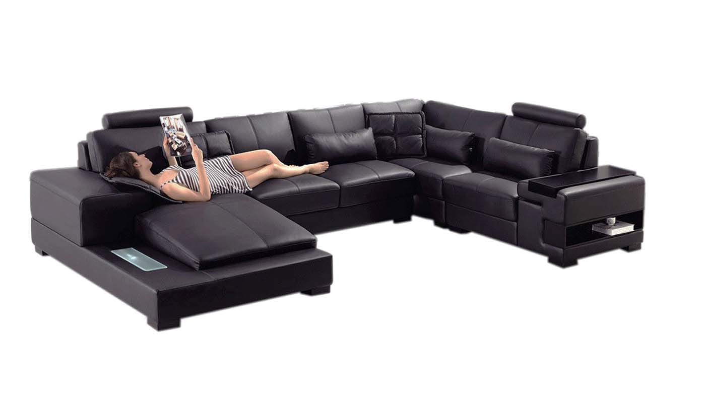 divani casa diamond modern black eco leather sectional sofa by vig furniture
