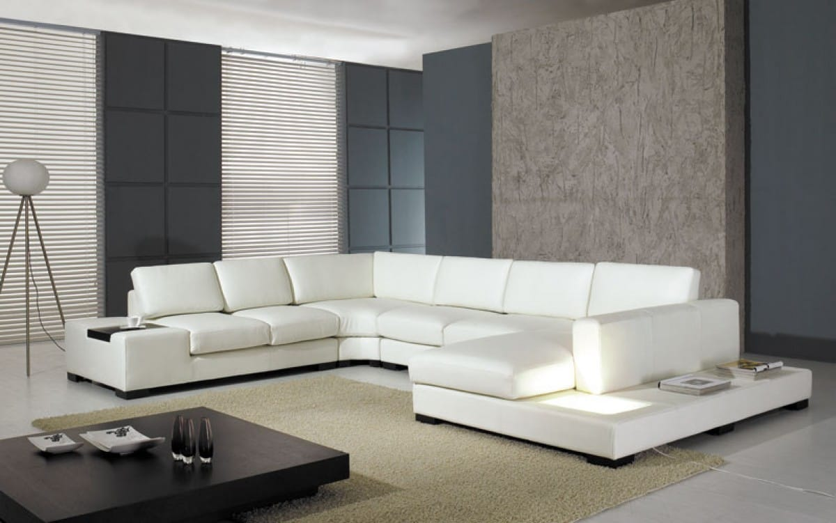 divani casa t35 white modern leather sectional sofa w light by vig furniture