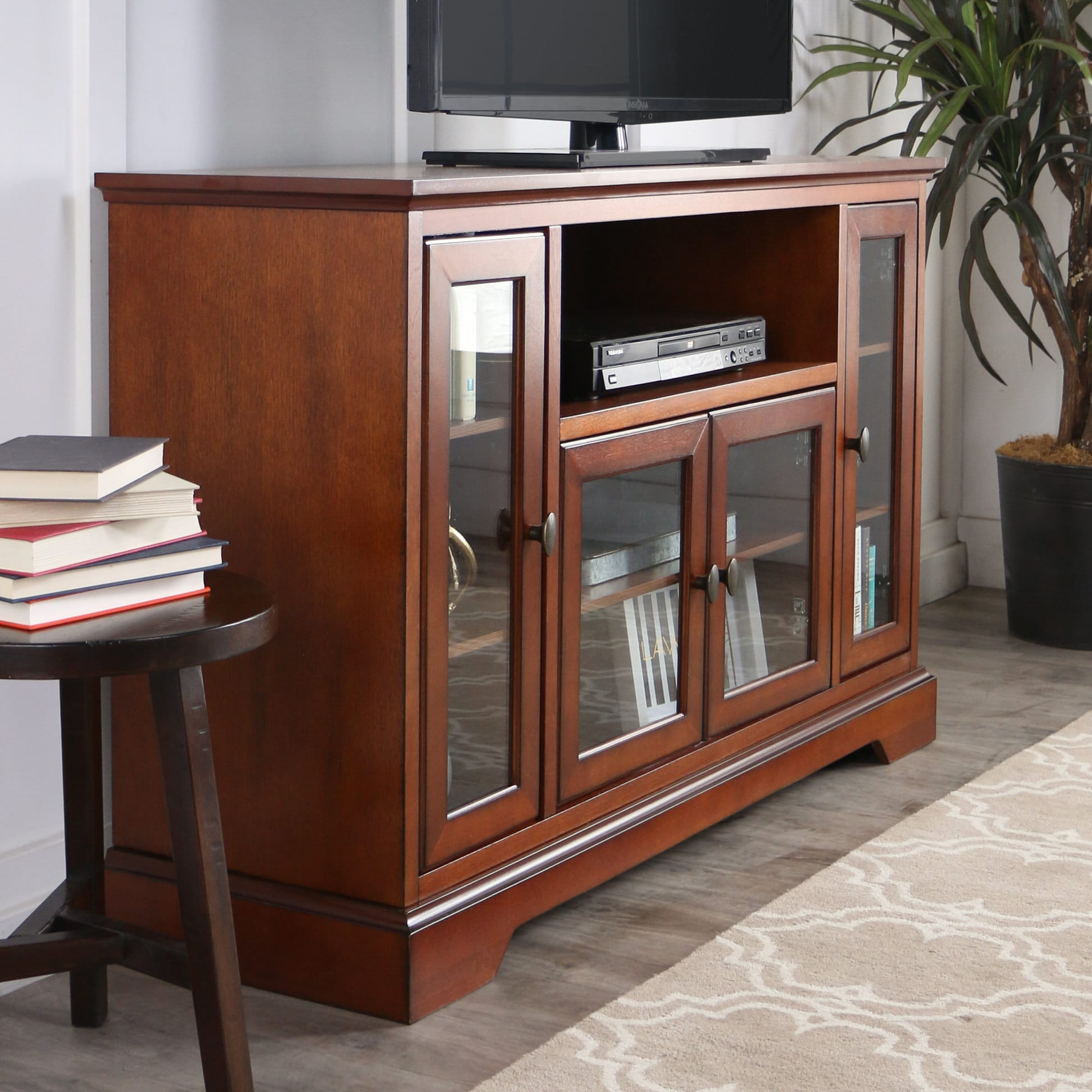 Highboy 52 Inch TV Console Rustic Brown By Walker Edison