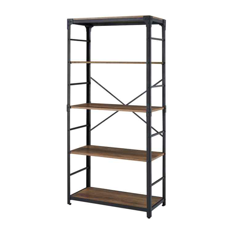 64 Inch Industrial 4 Shelf Wood Bookcase Rustic Oak By Walker Edison