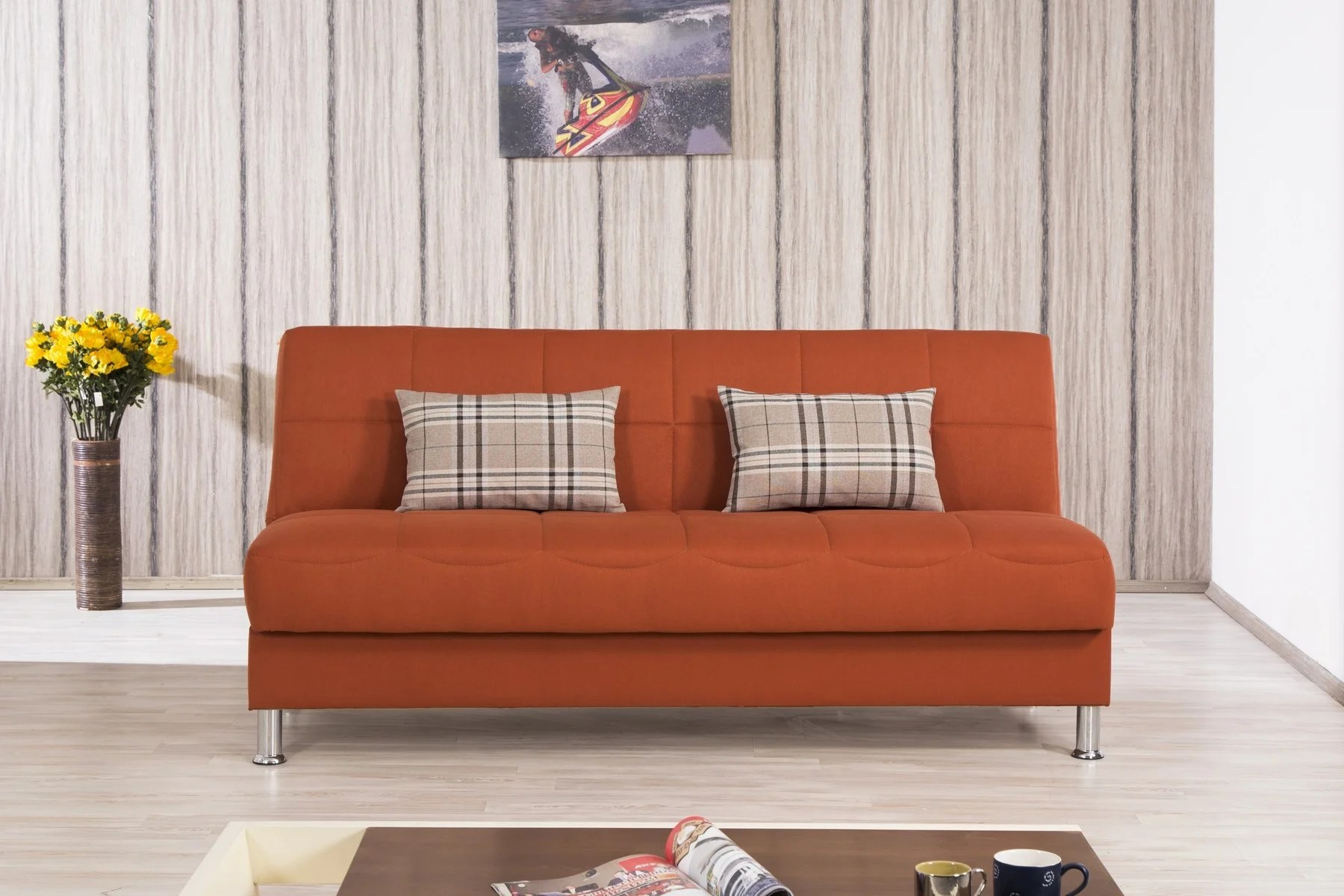 Eco Plus Orange Convertible Sofa Bed By Casamode