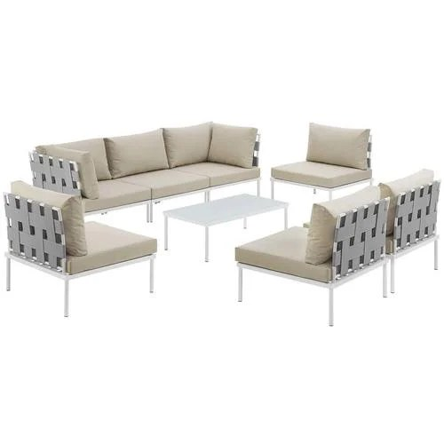 Harmony 8 Piece Outdoor Patio Aluminum Sectional Sofa Set White     Harmony 8 Piece Outdoor Patio Aluminum Sectional Sofa Set White Beige
