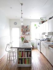 White cabinets, bright natural light.