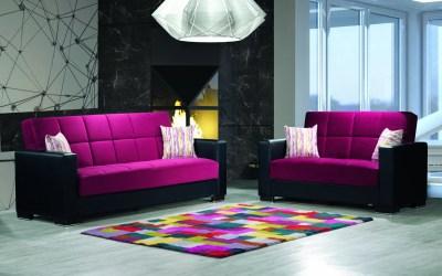 Armada Futon Sofa & Loveseat Black Leatherette Burgundy Microfiber