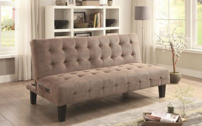 Adjustable Futon Sofa Bed with USB and Power Ports – Taupe