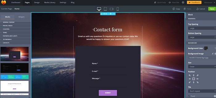 contact form create website