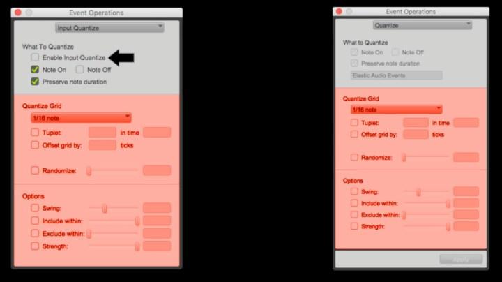 Comparando as janelas 'input quantize' e 'quantize'