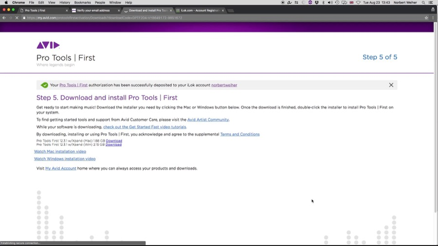 A página de download de Pro Tools First.
