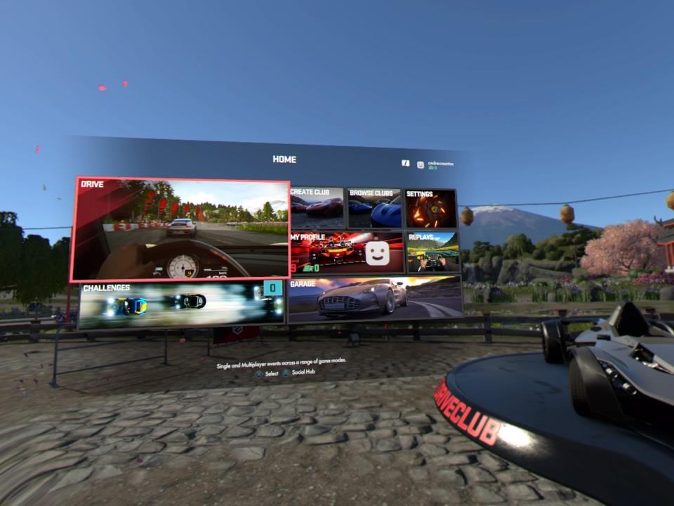 Imagem dos menus de DRIVECLUB™ VR