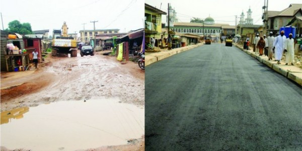An LMDGP road project before and during contrsuction