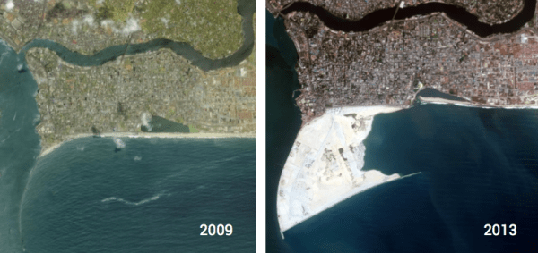 Land Reclamation View from Space: Comparing Progress Between 2009 and 2013 Source: www.ekoatlantic.com
