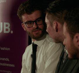 Julian Chambers, Charles Dembey, and Joshua Watmuff at Clubhouse Fashion in February