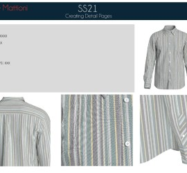 3D design close-ups of a grey and white striped shirt