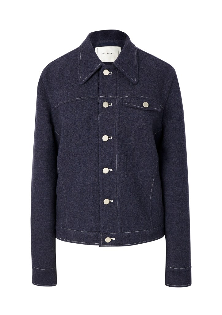 A denim-style jacket in indigo lambswool by The Array