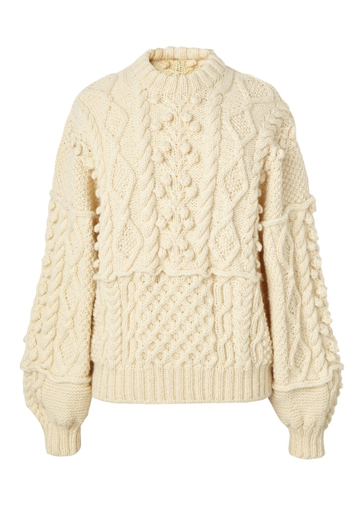 Cream chunky hand-knit jumper by Jennifer Koch in byLaxtons yarn