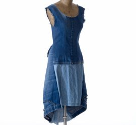 Still of Upcycle Fashion denim knee-length dress