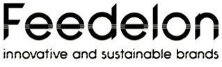 "Feedelon logo - tagline ""Innovative and sustainable brands"""