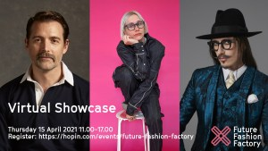Patrick Grant, Danielle Elsener and Joshua Kane caption: Virtual Showcase, Thursday 15 April 2021, 11.00-17.00