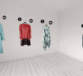 Screenshot of outfits hanging in virtual showroom - a white VR room