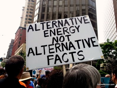 Alternative energy not alternative facts protest sign