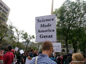 Protest sign: Science made America great