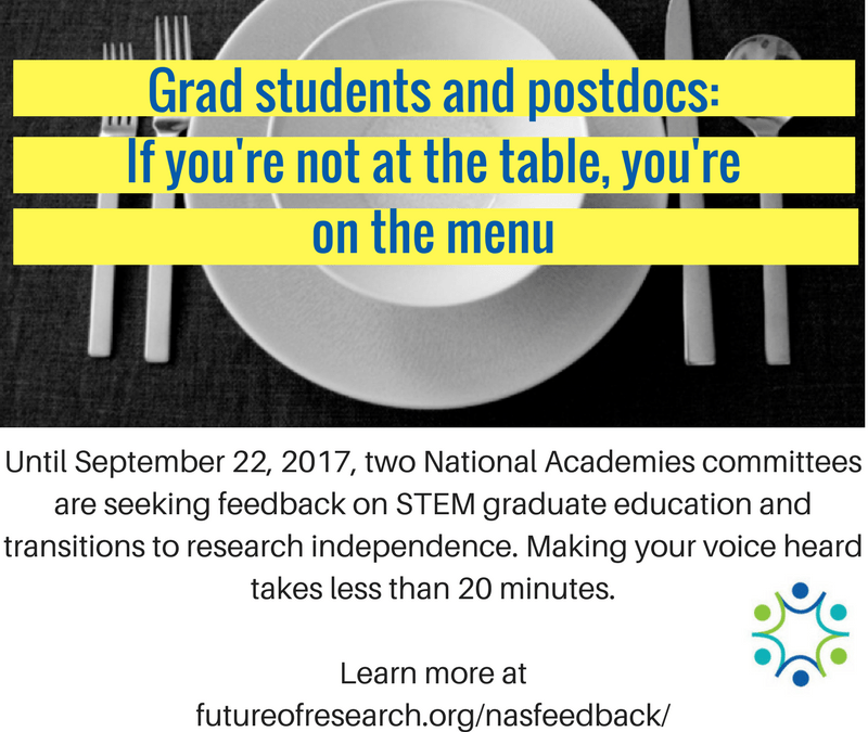 ACTION for September: Send the National Academies your ideas on reforming grad STEM education, and producing independent researchers