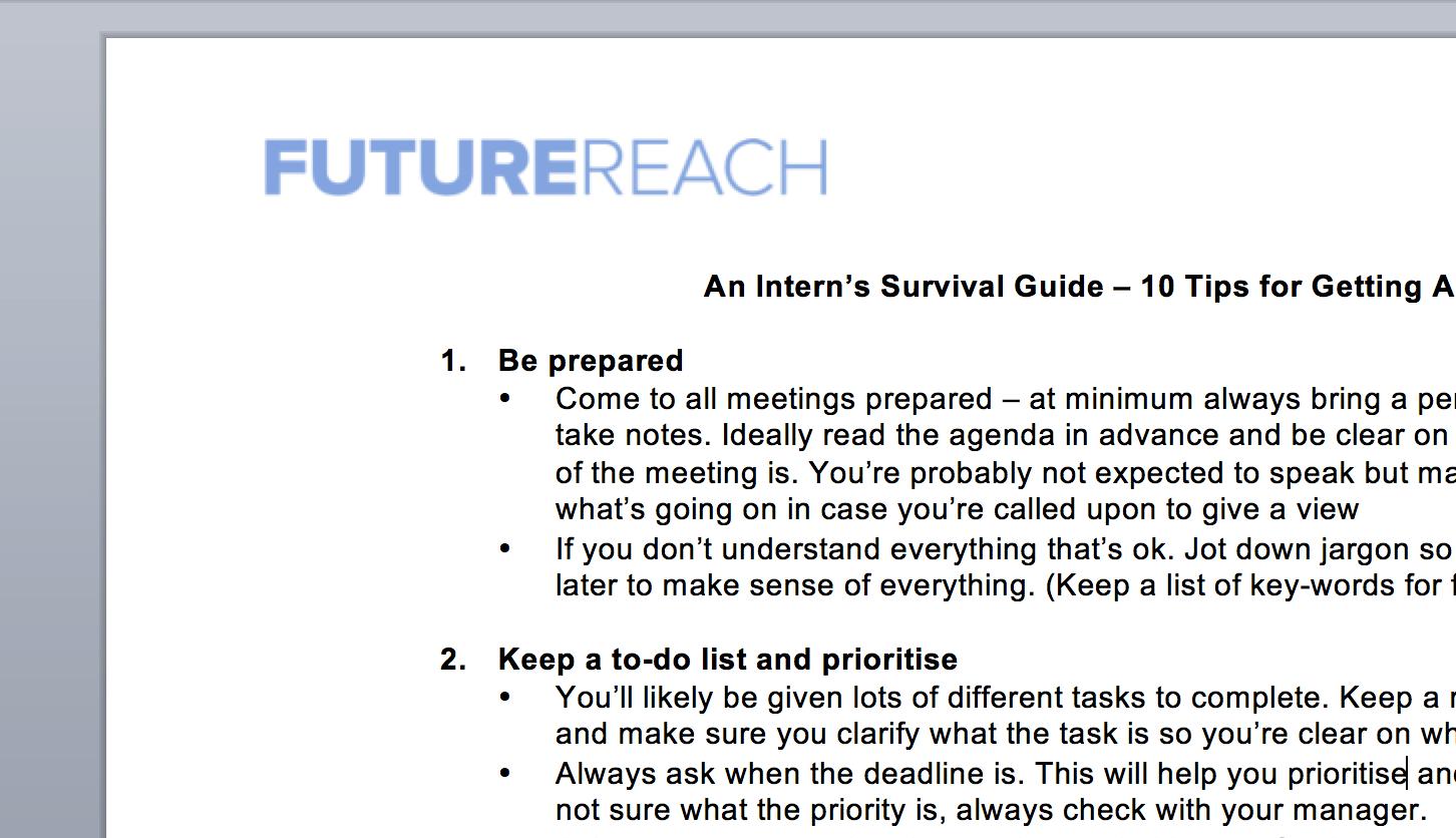 Worksheet An Intern S Survival Guide