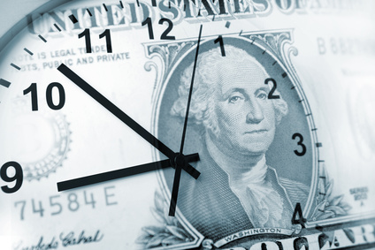 Clock and banknote. Time is money concept