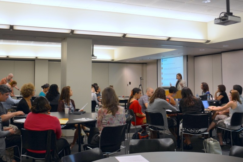 Cathy Davidson welcomes the group gathering for the Futures Initiative's first Fall 2015 workshop, Towards a Pedagogy of Equality