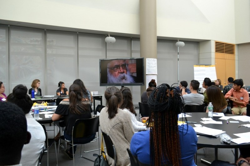 """Mentors watch a short excerpt of """"The PolyMath,"""" about Samuel Delany, and discuss the dynamics of the classroom"""