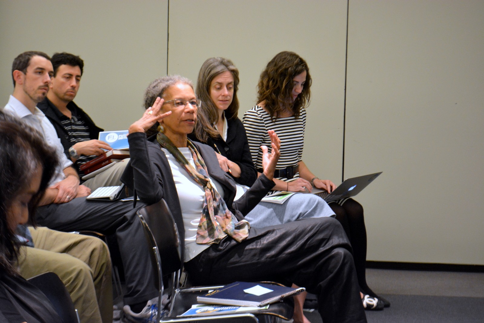 Ruth Wilson Gilmore weighs in during the discussion at the 10/22/15 Futures Initiative event
