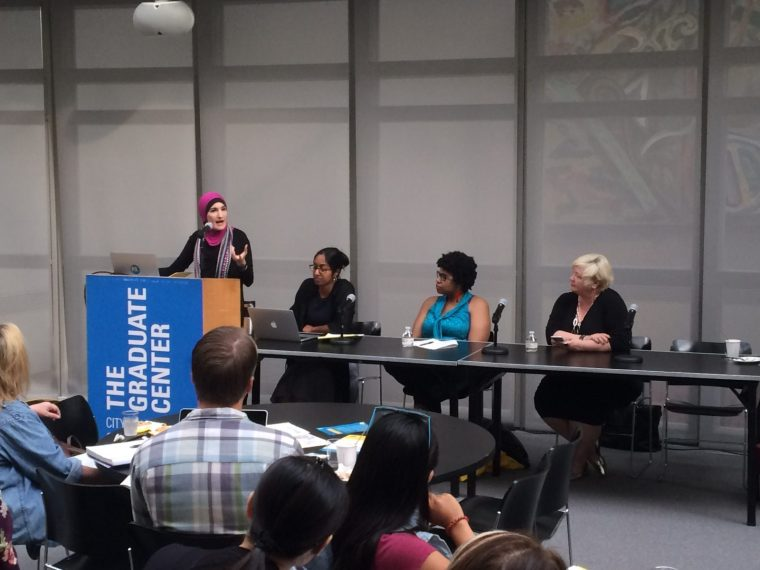 """Linda Sarsour speaking at The Futures Initiative's """"Racism, Xenophobia, and Populism"""" event, September 20, 2016."""