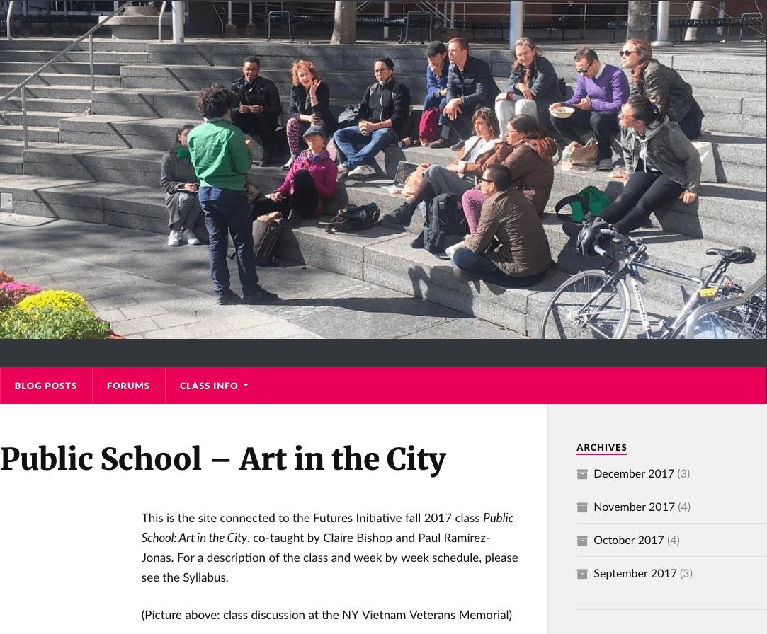 Screenshot of Public School-Art in the City website