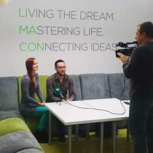 Euvie and Mike giving an interview for Bulgarian TV
