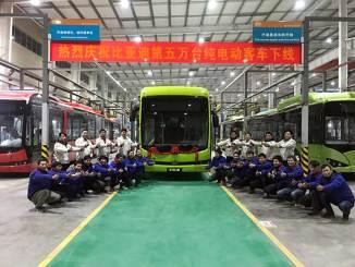 BYD atinge a marca de 50 mil ônibus elétricos produzidos