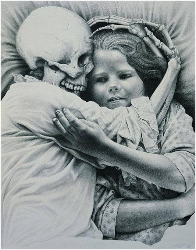 Şekil 1 Laurie Lipton, Death and the Maiden, kağıt üzerine karakalem, 43×34 cm