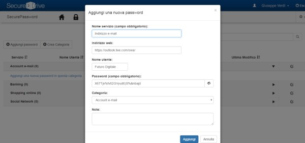 Aggiunta di una nuova password in SecurePassword (password manager di SecureDrive)