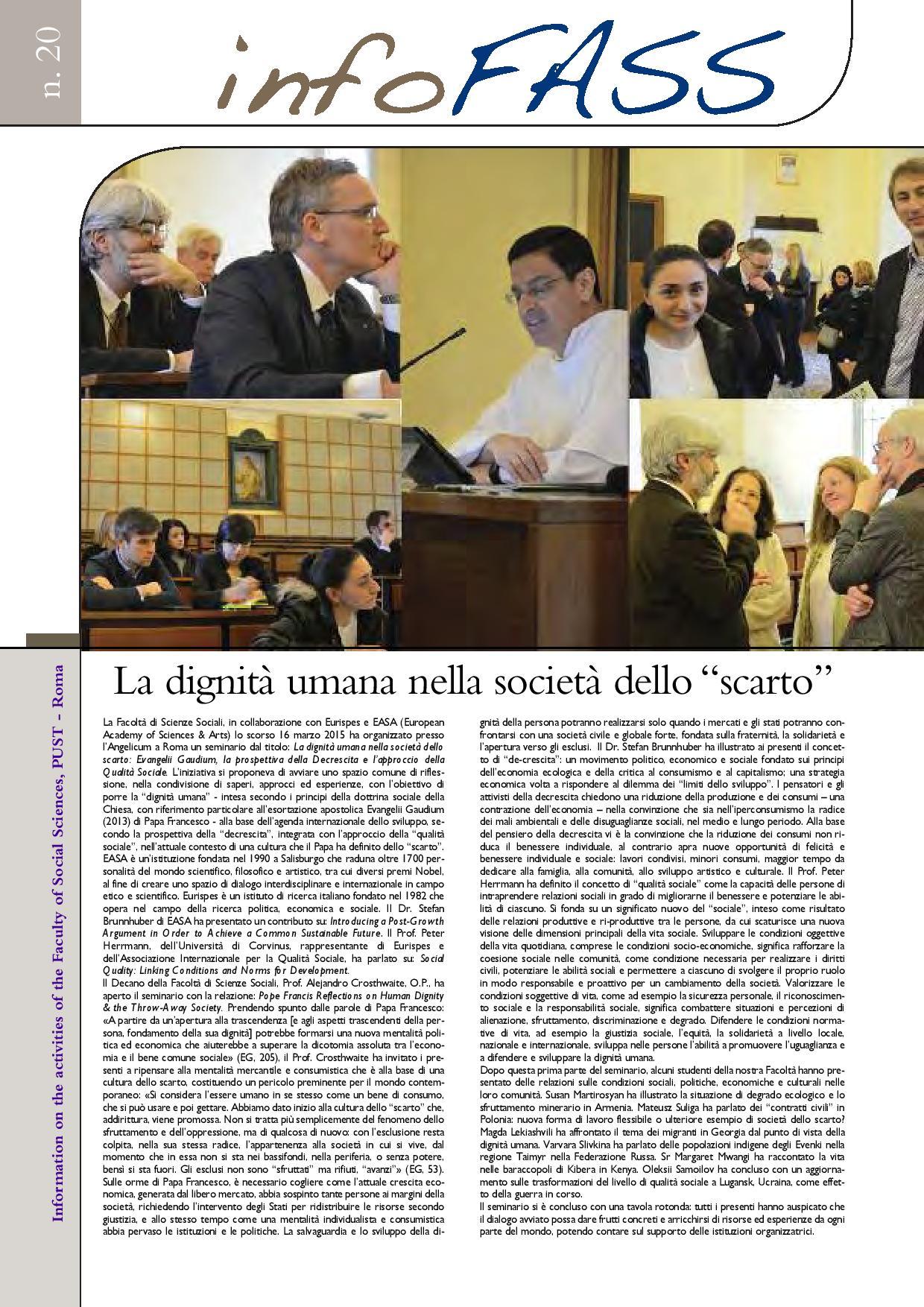 Angelicum Roma, FASS: Aperte le iscrizioni per l'A.A. 2017-2018