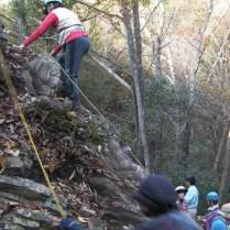 不老滝上部岩場にて登下降の練習