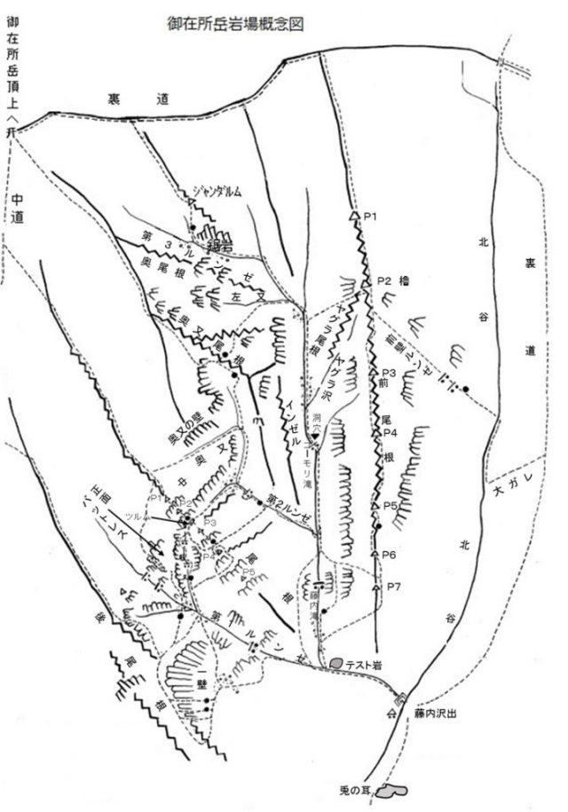 御在所岳岩場概念図